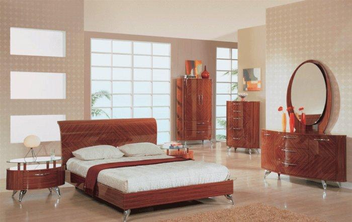 Uniquely Soft Shaped Platform Bedroom Set in Warm Brown Color