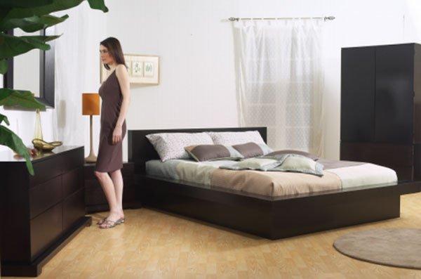 Zurich Platform Bedroom Furniture 5 Piece Cappuccino Wood Set