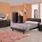 Victoria Wenge Finished Modern Bedroom with Headboard Storage