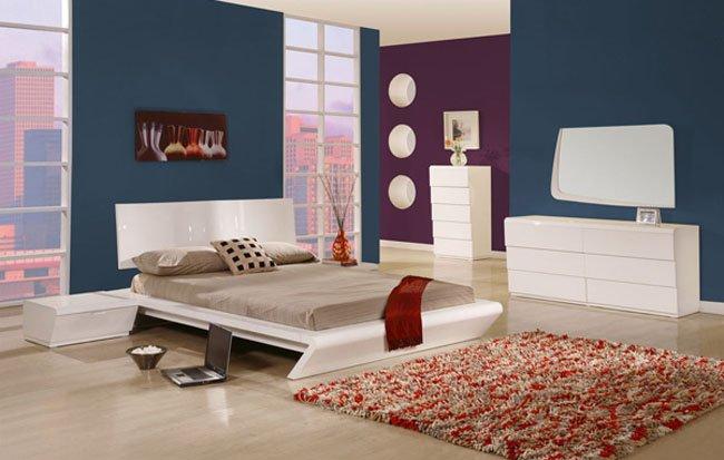 Modern Style White or Wenge Shiny Rectangular Headboar Bedroom