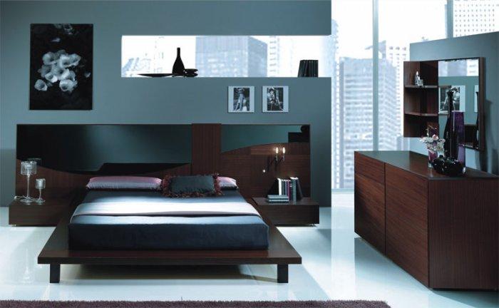 Dark Color Contemporary Bedroom Set
