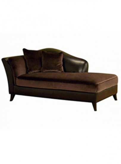 Dark Brown Velvet and Leather Chaise