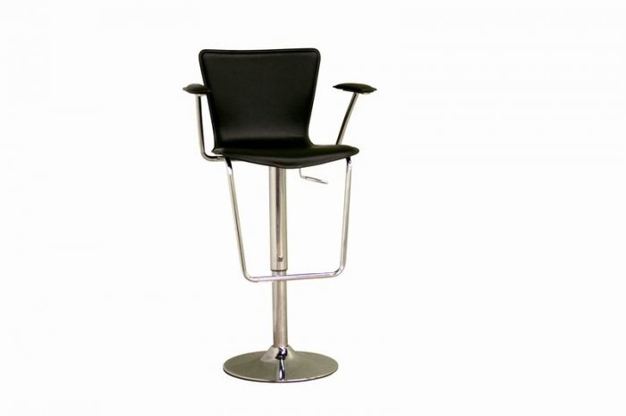 Black Bonded Leather Adjustable Bar Stool