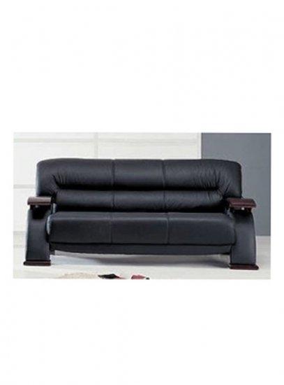 Grandiose Curvy Wood and Leather Sofa   gl usa