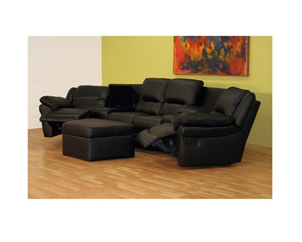 wsi-8327 // Home Theater Seating Curved Row of 4 Black