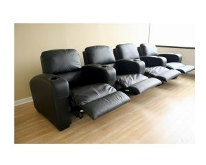 wsi-HT638 // Row of 4 - Showtime Theatre Sectional - Black