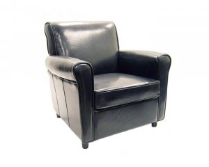 Black Full Leather Club Chair