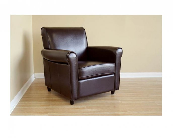 Brown Full Leather Club Chair