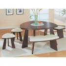 Triangular Wenge Dinette Set  in Cappuccino Leather