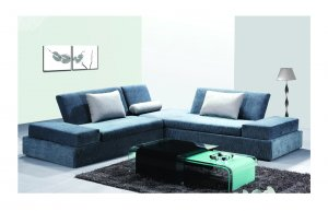 ESF 831 Sectional 4920  //  Blue Color Fabric Modern Sectional
