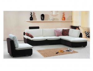 Eho-S282A  //   Contemporary 2-Toned Microfiber Sectional
