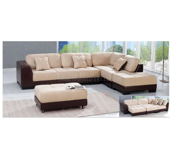 AESS-8164  //  Modern Two-Tone Sectional Sofa with Ottoman