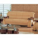 GF-2033MF  //  Grandiose Curvy Wood Details and  Beige Microfiber Sofa