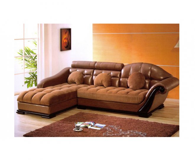 AE-8174  //  Bycast Leather & Micro Suede Two-Tone Sectional