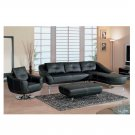 GF-546  //  Black Leather Living Room Sectional with White Stitching 546