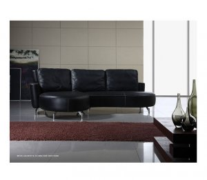 ESF-M135  //  Black Leather Sectional with Adjustable Back Height