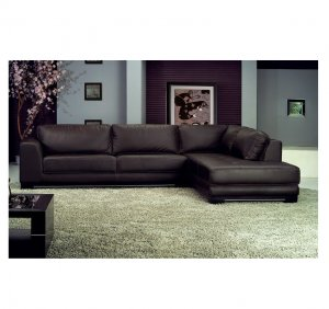 AH-6573  //  Brown Leather Contemporary Sectional 6573