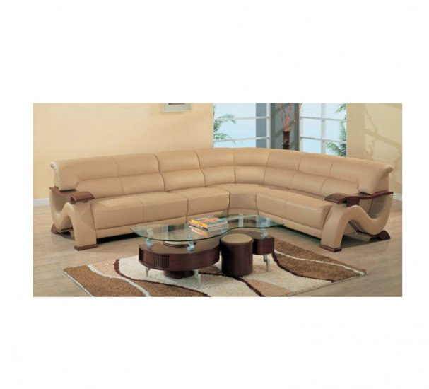 GF -2033  //  Curvy Wood and Leather Sectional