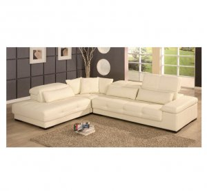 Ls  //   Bella White Leather Sectional