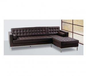 SD_057BLK  //  Barcelona Dark Brown Style Sectional Sofa