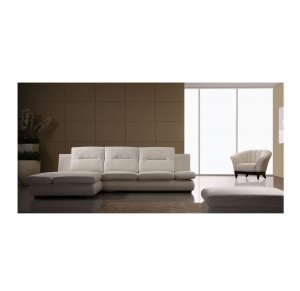 ESF-M136  //  White Leather Sectional with Adjustable Armrest