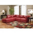 C_500897 // 5 Piece 100% Red Bonded Leather Sectional