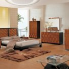 Two Tones Bedroom Set with Simple Slender Lines and Modern Bed