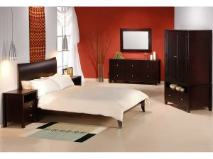 Romeo Modern Cappuccino All Wood Bedroom set (Full/Queen/King)