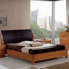 Natural Wood Modern Bedroom Set with Black Leather Headboard