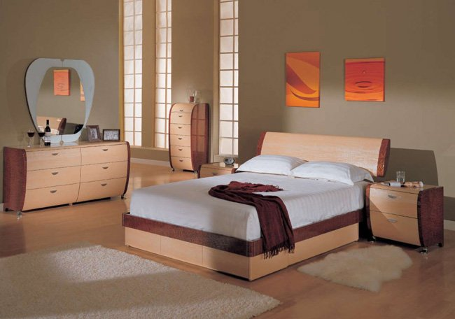 Contemporary maple queen size 5pc bedroom set symphony - Contemporary maple bedroom furniture ...