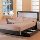CR-Polo // Wenge and White Finished Modern Style Queen Bed with Lighting
