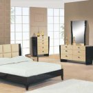 Two-Toned Biege / Dark Mahogany Modern Simone Bedroom Set