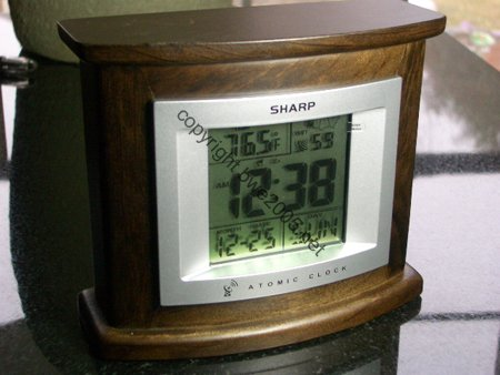 Sharp Atomic Desk Clock in Dark Wood Sharp National Institute of Standards and Technology (NIST) NIB