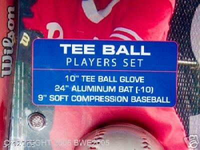 Wilson Brand Tee Ball Set 10 inch glove 24 in bat 9 in Baseball NIB