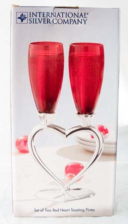 "Champagne Wedding Red/Silver Heart Toasting Flutes 10"" NIB"