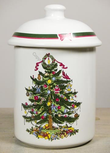Christmas Ribbon Tree Holiday Cookie Jar Christmas Season