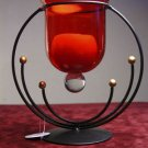 Candle Holder w Ruby Red Glass Metal Art Deco New! Perfect for Candlelit Dinner for two