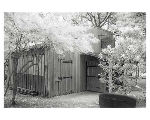 """Blacksmith Shop #13"" Infrared Austin Texas Trees Garden Fine Art Photo Barn"