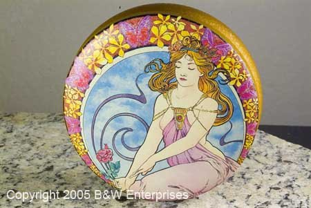 Breast Victorian Grecian Storage Tin w Young Lady Nude