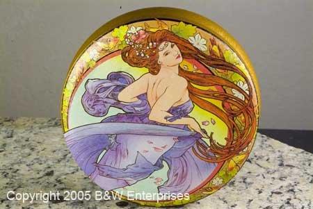 Victorian Grecian Style Storage Tin w Young Lady Decor