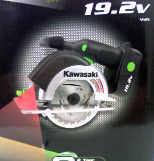 Kawasaki Cordless 19.2v Circular Saw Laser Guide 2 -1 hour batteries 4 blades charger Kit  NEW