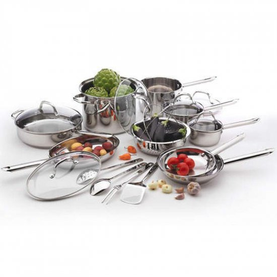 Wolfgang Puck 19 Piece Stainless Steel Cookware Set Gourmet Chef Quality Family Cookware NIB