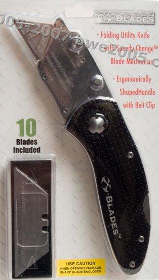 Folding Lock-Back Utility Knife X-Blade Anodized Black Aluminum Handle Metal Belt Clip NIB