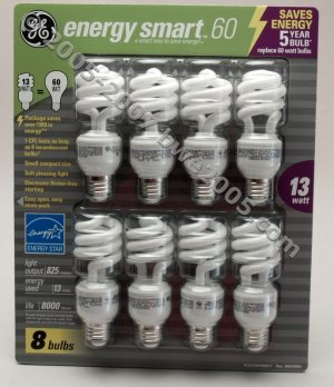 Fluorescent Bulbs by GE 8-Pack 13 Watt bulbs with 60 watt Output Save Electricity NIB