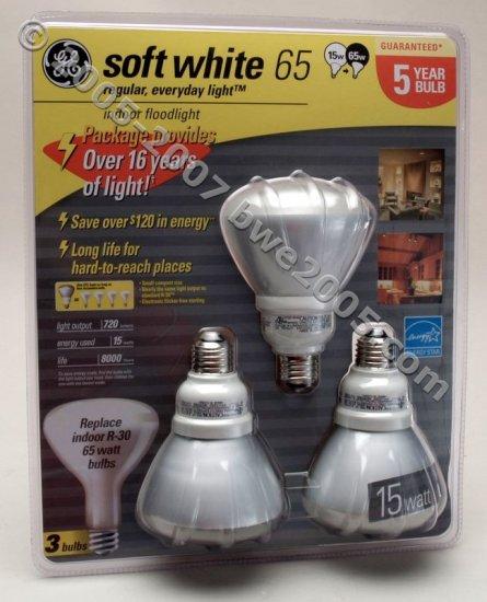 Fluorescent Bulbs GE 3-Pack 15 Watt R-30 Floodlight bulbs with 65 watt Output Save Electricity NIB
