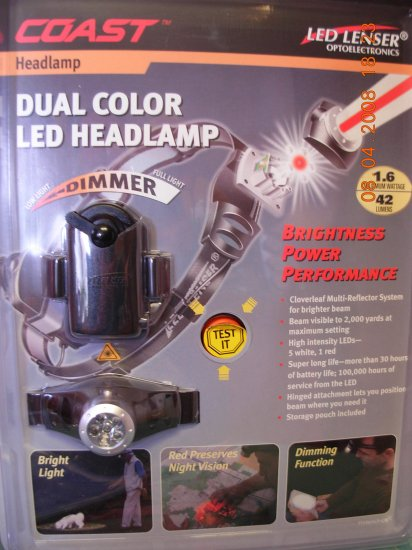 "NEW! 6 LED ""Revolution"" Headlamp Dual Color Red White with Dimmer by Coast Batteries included"