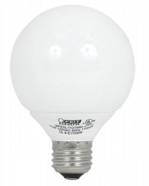 Feit G25 Globe Feit 11w Fluorescent ECObulb G25 ESL11GTMM Package of 4 Light Bulbs