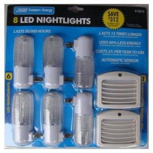 Feit 8 Pack Led Nightlights, last 15 times longer, use 90% less energy last for years - night eye