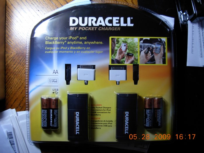 2 Duracell My Pocket Chargers for IPod and BlackBerry 2 Pack NEW In Package Free Shipping