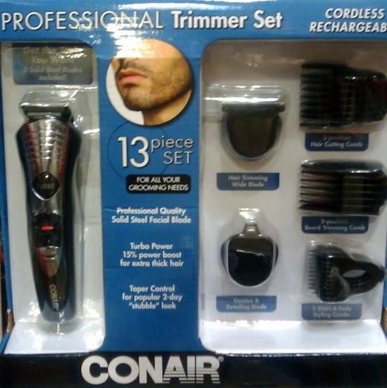 Conair 188GDC 13 piece Professional Beard Hair Trimmer Cutter Set Cordless Rechargeable